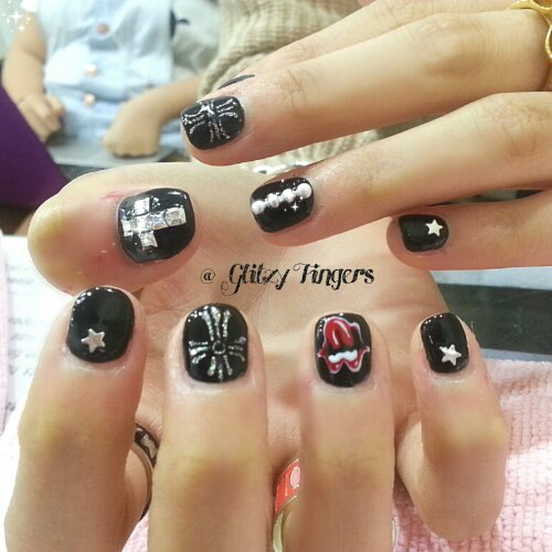 Manicure + Lovely Nails + Nails In Trend + Sg Nails + Gel Art + Hand drawn + Hand Painted + Cute Nails + Nail Gallery + Bling Nails + Nail Styles + Nail Design + Gelish Design + Black Gelish + Chrom Hearts + Diamond Cross + Studs + Gothic Nails + Glam Nails + Pretty Nails + Trendy Nail Art