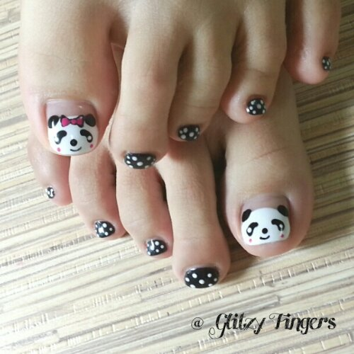 Manicure + Pretty Nails + Cute Nails + Panda Nails + Gelish Art + Pattern Nails + Nail in trend + Lovely Nails + Gelish Design + Polkadot Nails + Cartoon Nails + Jia JIa + Sg Nails