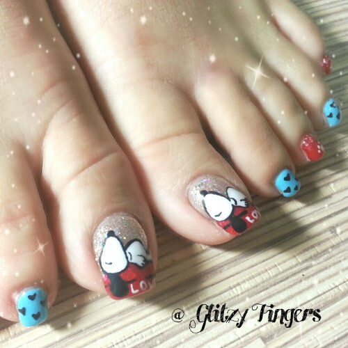 Pedicure + Cartoon Art + Nail Art + Nail Design + Nail Style + Pretty Nails + Cute Nails + Handdrawn + Snoopy Design + Nail Pattern + Gelish Nails + GelNails + Colourful Nails + Adorable Nails + Sg Nails + Beautiful Nails + Nails In trend