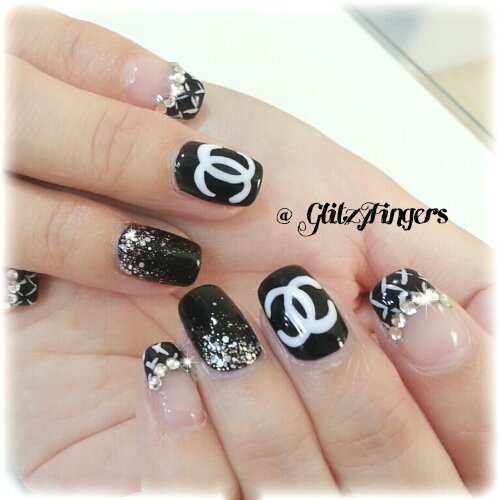 Manicure Monochrome Black And White Nail Art Gelish Lovely Nails