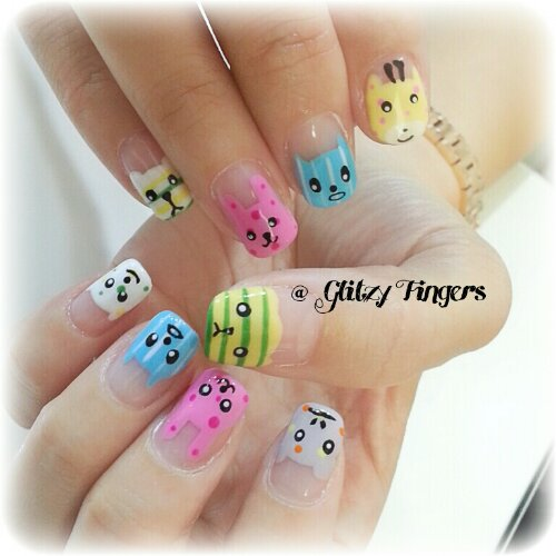 Manicure + Girly Nails + Pretty Nails + Gelish Nails + Lovely Nails +  Cartoon Nails - Nail Designs Glitzy Fingers