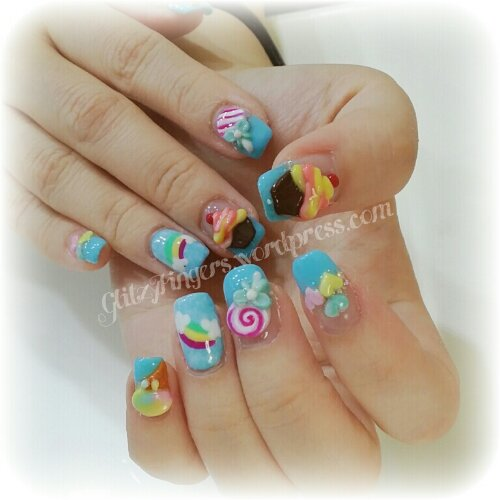 Manicure + Rainbow Design + Colourful Design + Cupcake + Lollipop + Nail Art + Gelish Art + Pretty Nails + Cute Nails + Hand Drawn + Hand Painted + Hand Crafted + pop Art + Nails Gallery + Nails In trend + Nail Patterns + Nail Designs + Gelish Designs