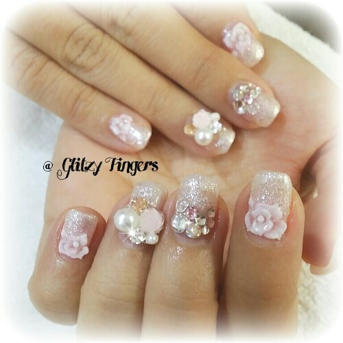Manicure Nail Art Fancy Gellish Gel Nails Pretty Floral Bride