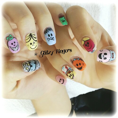 Manicure + Lovely Nails + Little Miss Gel Art + Gel Art + Nail Design + Hand Painted + Hand Drawn + Cute Nail Art + Pretty Nails + SgNails + Happy Nails