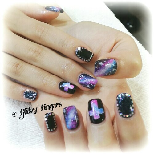 Manicure + Nail Art + Nail Design + Galaxy Nails + Sg Nails + Pretty Nails + Lovely Nails + Studded Nails + Hand Drawn + Cross Design + Starry Nails + Gellish Art + Hand Painted + SG Nail Parlour