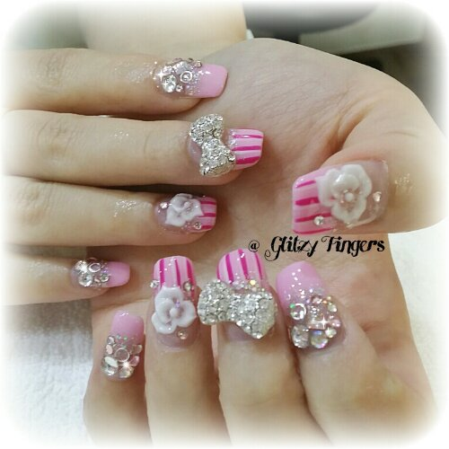 Nail Pattern + Nail Design + Nail Art + Gel Art + Studded Nails + Pink Nails + Cute Nails + Hand Painted + Hand Drawn + Lovely Nails + SgNails +  Floral Nails + Stripe Nails