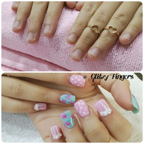 Manicure + Polka Dots + Lovely Nails + Gel Art + Gel Nails + Cute Nails + Hand Drawn + Cath Kidston Nails + Inspired Nails + Gel Design + Gel Pattern + Nail Of The Day + Ribbon Nails + Stripe Nails