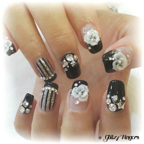 Manicure + Stripe Nails + Gel Art + Lovely Nails + Pretty Nails + Studded Nails + Floral Nails + Bling Nails + Sg Nails + Nail of the Day + Nail Gasm + Cute Nails + Singapore Nails