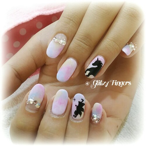 Manicure + Hand Drawn + Hand Painted + Pastel Nails + Pink Nails + Cute Nails + Lovely Nails + Studded Nails + Nailgasm + Nail Of the Day + Singapore Nails + Gel Art + Gel Design