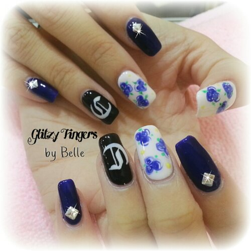 Manicure + Gel Nails + Gel Art + Gel Design + Gel Patterns + Sg Nails + Nail of the Day _ Nailgasm + Pretty Nails + Floral Nails + Navy blue Nails + Hand Drawn + Alphabet Nails + Hand Painted + Studded Nails + Shiny Nails