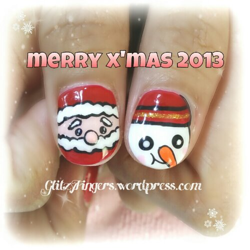 Manicure + Christmas Nails + Nailgasm + Gel Art + Hand Painted + Hand Drawn + Hand Designed + December Nails + Pretty Nails + Lovely Nails + Cute Nails + Snowman Nails + Santa Claus Nails + Manicure Art  + Christmas Nail Patterns + Gel Design