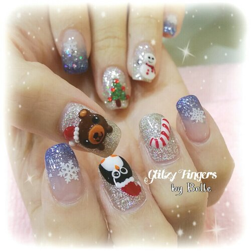 Manicure + Pretty Nails + Gel Art + Gel Nails + Nail Designs + Cute Nails + Christmas Nails + Festive Nails + Gel Patterns + Sparkly Nails + 3d Nails + Nail of the Day