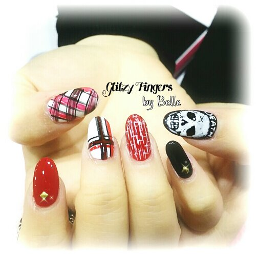 Manicure + Gel Nails + Gel Art + Pretty Nails + Lovely Nails + Gel Design + Gel Pattern + Skull Nails + Christmas Nails + Plaids Nails + Tartan Nails + Hand Drawn + Hand Painted + Red Nails + Maze Nails + Sg Nails  + Nail Of The Day + Nailgasm