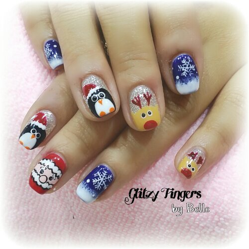 Manicure + Pretty Nails + Lovely Nails + Gel Nails + Gel Art + Gel Patterns + Gel Designs + Festive Nails + Santa Claus Nails + Nail of the Day + Cartoon Nails + Christmas Nails + Shiny Nails + Hand Painted Nails