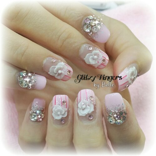 Manicure + Pink Nails + Lovely Nails + Cute Nails + 3d Nails + Floral Nails + Stripe Nails + Studded Nails + Candy Nails + Long Nails + Gel Art + Gel Mani + Gel Design + Gel Pattern + January Nails + Pastel Nails