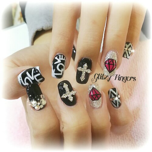 Cny nails glitzy fingers manicure pretty nails hand drawn hand painted diamond nails words nails prinsesfo Choice Image