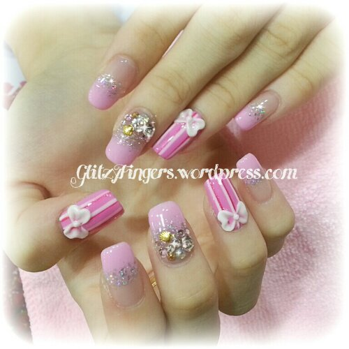 Manicure + Pretty Nails + Stripe Nails + Studded Nails + Heart Nails + Pink Nails + Sweet Nails + Nail of the Day + Nail Design + Gel Mani + Pastel Pink Nails + Nailgasm + Sparkly Nails + 3d Nails
