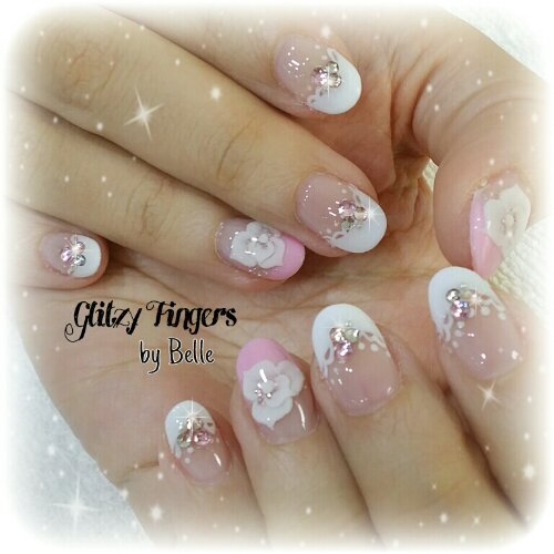 Manicure + Pretty Nails + Cute Nails + Pink Nails + Pastel Nails + Studded Nails + Bling Nails + Sparkly Nails + Floral Nails + Gel Art + Gel Mani + Gel Patterns + Gel Design + Lovely Nails + Trendy Nails + Nail look of the day + Design of the day