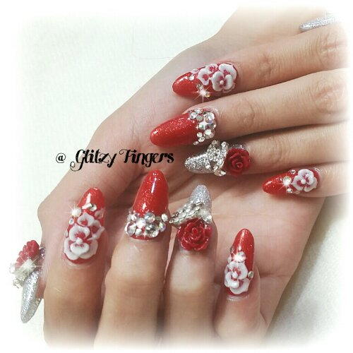 Cny Nails Glitzy Fingers