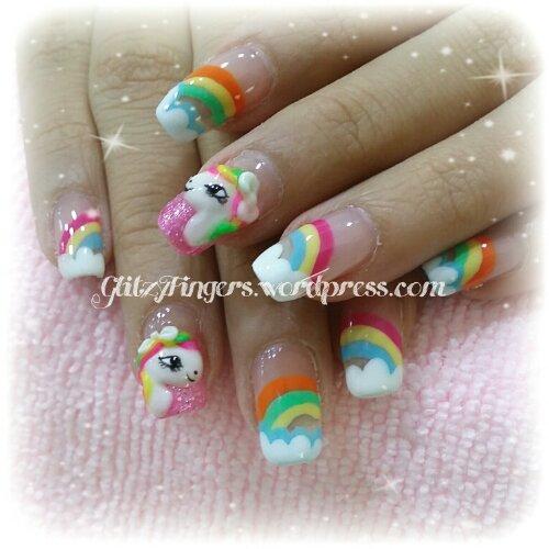 Manicure Rainbow Nails Pop Out Art Gel Mani