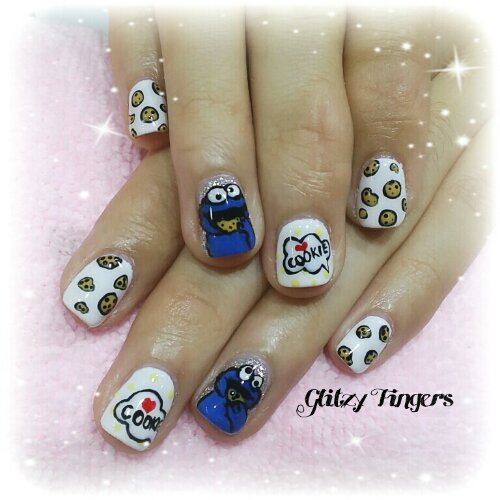 Manicure + Cookie Nails + Pretty Nails + Lovely Nails + Cute Nails + Hand Drawn + Hand Painted + festive Nails + CNYnails + Cookie monster nails + Cartoon Nails + Food Nails + Nail of the day + Nailgasm
