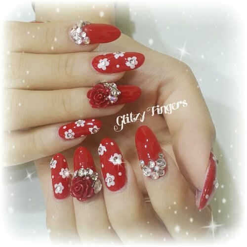 Manicure + Lovely Nails + Red Nails + Studded Nails + 3d Nails + Bling Nails + Hand Drawn Nails + Nail of the day + CNYnails + Festive Nails +  Gel Mani + Gel Art + Gel Design + Gel Pattern + Floral Nails + Floral Design
