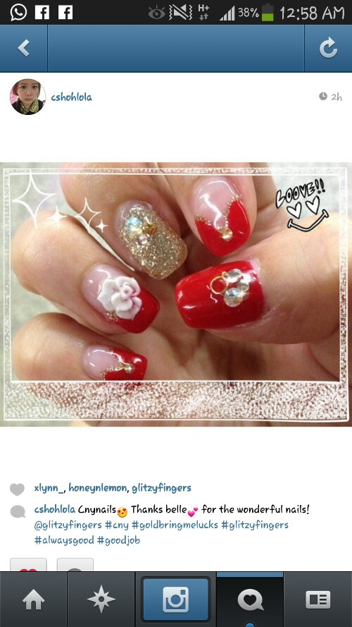 Manicure + Gel Art + Pretty Nails + Gold Nails + Red Nails + Nailspiration + Nail inspiration + Chines New Year Nails + Festive Nails + CNYnails + Lovely Nails + Bling Nails + Cute Nails + Long Nails + Nail Art + Nail Pattern + Nail Design + Gel Mani + Gel Art