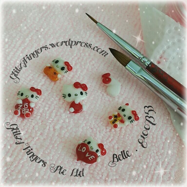 Hand Made Kitty + Hello Kitty Nails + Gel Designs + Gel Nails + 3DNailArt + 3D Nails + Hand Drawn + Sgnails + Cartoon Nails + Gellish Nails + Acrylic Nails + NailRoom + Nail Art