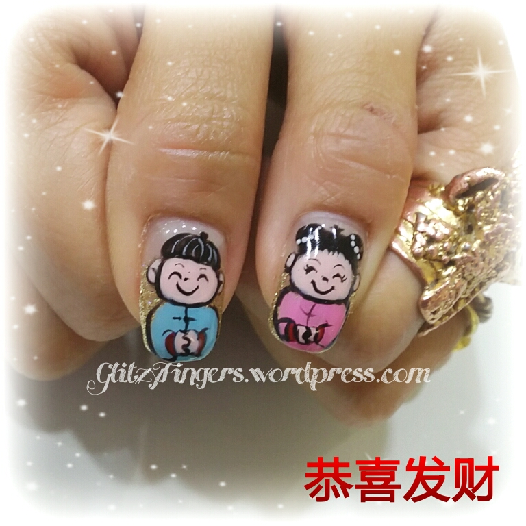 Handdrawn + Glitzy Fingers + Hand Painted + ChineseNewYearNauils + SgNails + Nailoftheday + FestiveNails + PrettyNails + Fashionable Nails + CuteNails + lovelyNails + CuteNails + CNYnails + 2014Nails + Manicure