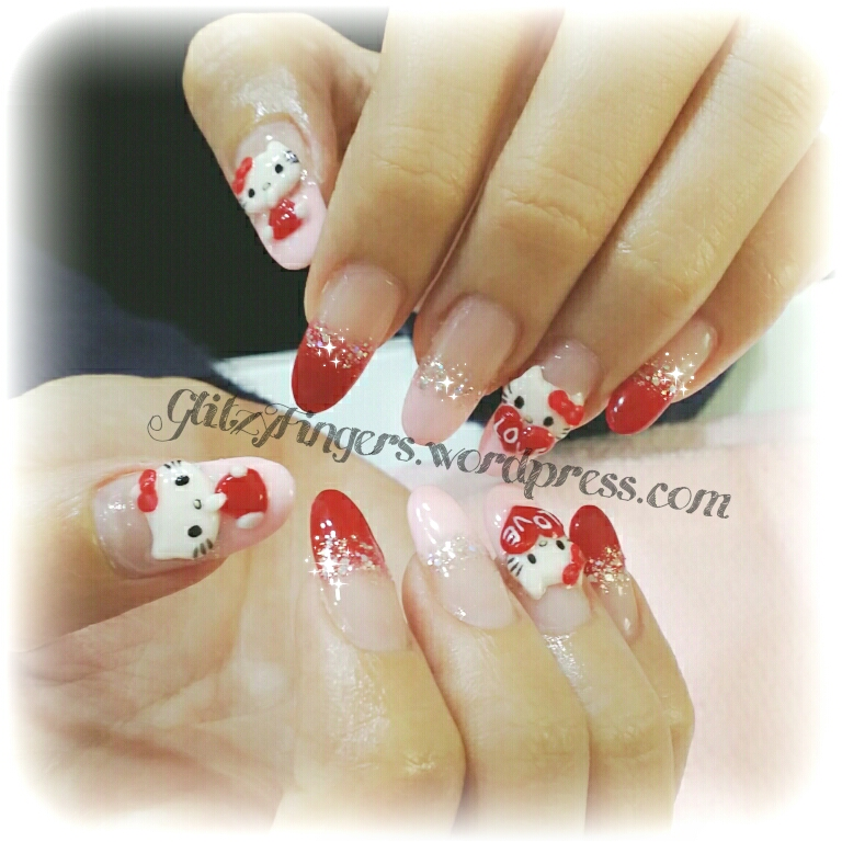 Hello Kitty Nails + Pretty Nails + Gel Designs + Gel Nails + Gelish Nails + Cartoon Nails + 3D Nail Art + SgNails + NailFashion + cutenails + GirlyNails + Red Nails + Nailart + Pinkroom Nails +