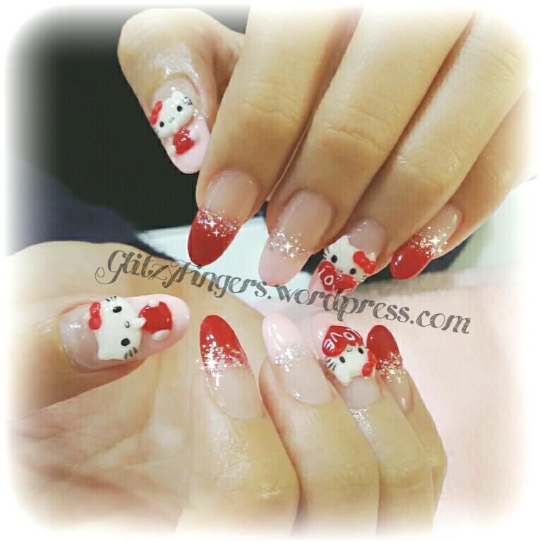 Hello Kitty Nails + Pretty Nails + Gel Designs + Gel Nails + Gelish Nails + Cartoon Nails + 3D Nail Art + SgNails + NailFashion + cutenails + GirlyNails + Red Nails + Nailart + Pinkroom Nails +