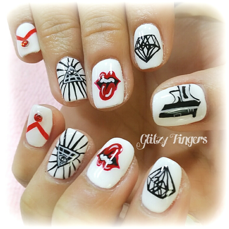 RollingStones Nails + Nail Design + Nail Art + Gel Art + Nailoftheday + GelishNails + Nailgasm + Sgignails + PrettyNails + Red Nails + White Nails + Black Nail Designs + Nailart + Trendy Nails + Cute Nails+ Nail Pattern + manicure Designs + Manicure + Nails