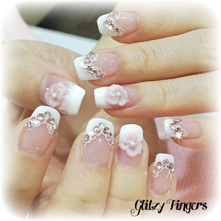 Pink Nails + Pink Designs + Gel Nails + Gel Art + Gelish Nails + PrettyNails + GirlyNails + Floral Nails + Trendy Nails + Nail of the day + SgNails + Nailgasm + Sparkly Nails + PartyNails +  manicure