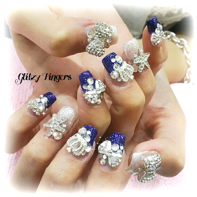 Party Nails + Sparkly Nails + Nail Art + Nail Designs + Pretty Nails + Cute Nails + 3d Nails + Blue Nails + Gelish Designs + Gel Art + Acrylic Art + Diamond nails + Nailstagram + Nail of the day + Nail parlour + manicure + nailgasm + Pretty Nails + SgNails