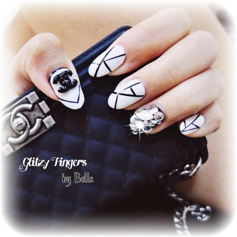 Chanel inspired + Nail Designs + Nail Art + Nailoftheday + Classic Nails + Chanel Nails + GelishNails + Pretty Nails + Black and White Nails + Sgnails + Nail parlour + Pretty Nails +  Cute Nails + Sparkly Nails + Geometric Nails