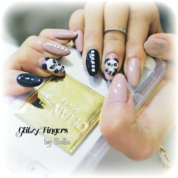Panda Nails + Nude Nails + Gel Art + GelishDesigns + Gelish Nails + Sg Nails + Nailoftheday + Pretty Nails + Nailgasm + Nailporn + Nail Designs + Pretty Nails + Neutral Nails + Nailart + Manicure + 3D Nails Art + Gel Designs + Hand Drawn + Hand Painted
