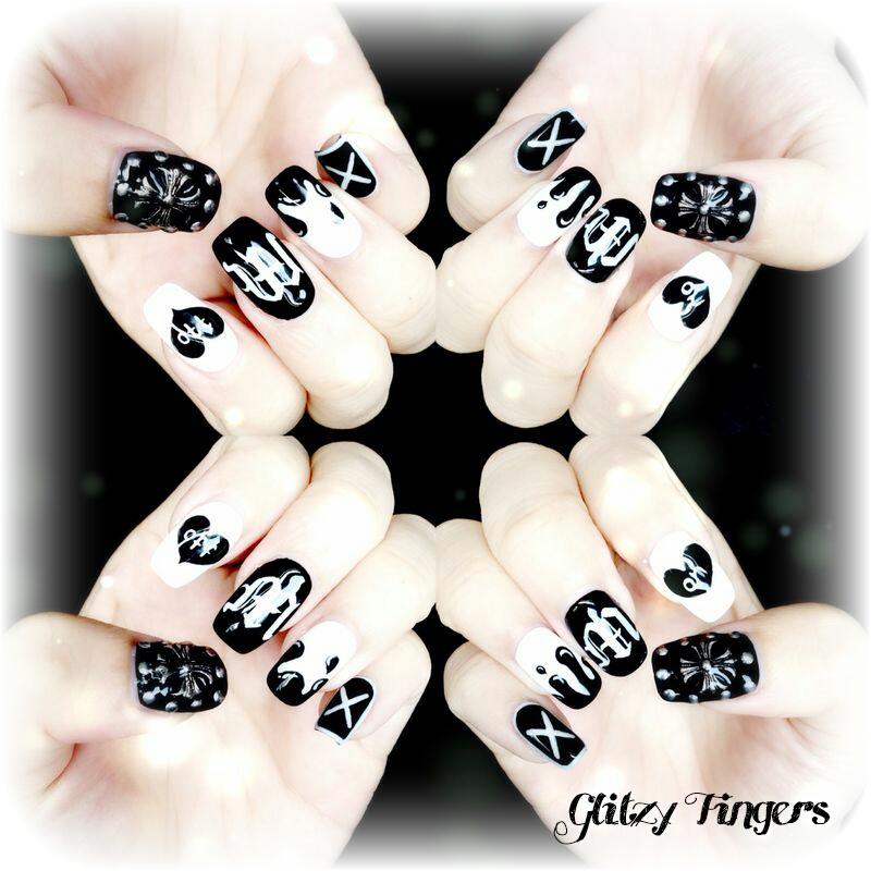 Hand Drawn + Hand Painted + Chrome Hearts inspired + Pretty Nails + Black Nail Designs + Nail Parlour + Manicure + Nail Art + Nail Designs + Cool Nails + trendy Nails + Nail of the day + Nailart + Pretty Nails + Cute Nails + Studded Nails + Nailgasm + Nailporn