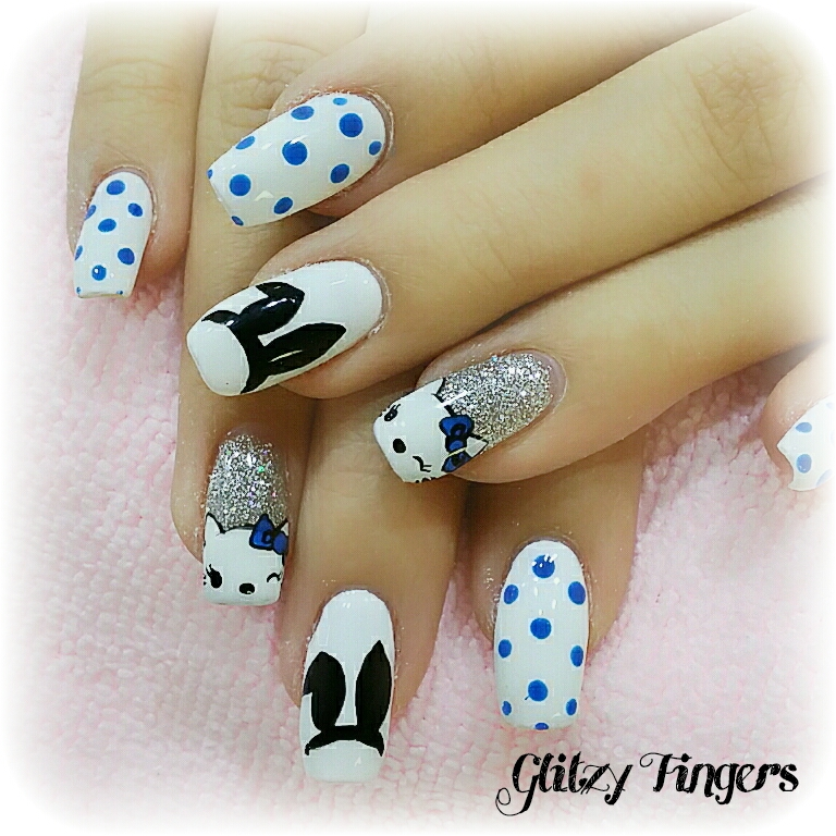 Cute Nails + Bunny  Nails + Nail Design + Nail Art + Gel Nails + Acrylic Nails + Pink Room Nails + Polkadot Nails + Trendy Nails + Singapore Nails + Nailpro + Nailartist + Nail Art + Polkadot Nails + Hello Kitty Nails + Nailstagram