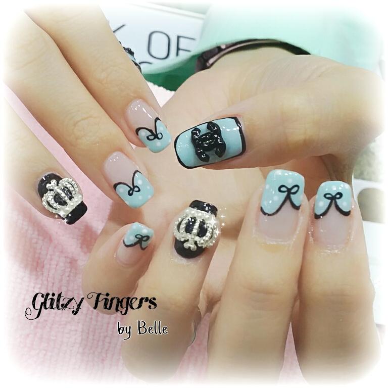 Chanel Inspired nails + Chanel Nails + Nail Designs + Nail Art + Nail Patterns + Nail Trends + Pretty Nails + Cute Nails + Cool Nails + Handdrawn + Hand painted + Nail Designs + Nail of the day + Studded Nails + Nail Parlour + Sgnails + Nail Singapore + Nail Gallery + Girly Nails