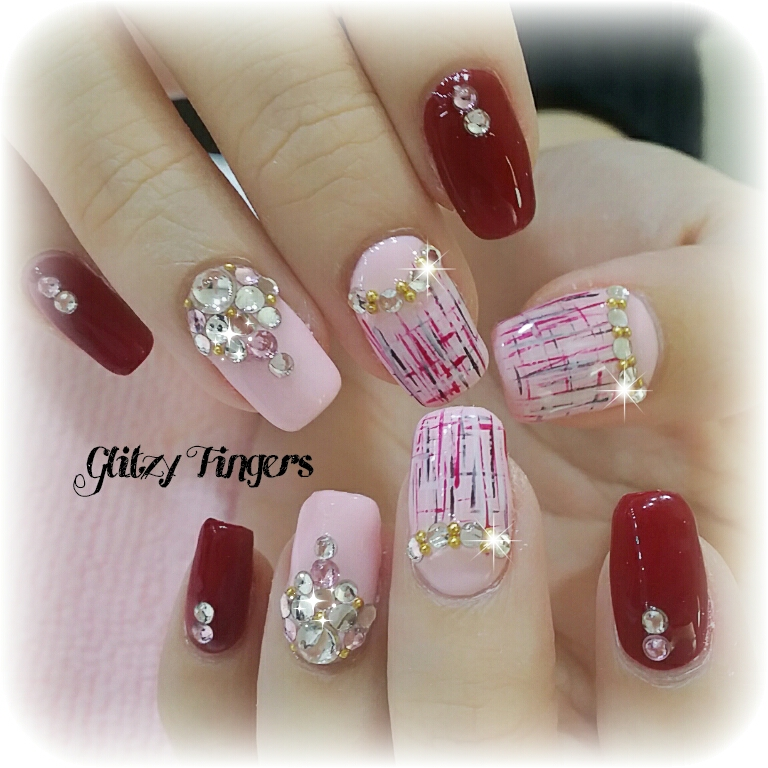 Tinted Glass Nails + Red Nails + Nail Designs + Pink Nails + Girly Nails + Sparkly Nails + Studded Nails + Glittering Nails + Cute Nails + Simple Nail Designs + Hand Drawn + Hand painted + Nail of the day + Sg Nails + Singapore Nails + Nail Parlour + Gel Nails + Gel Art