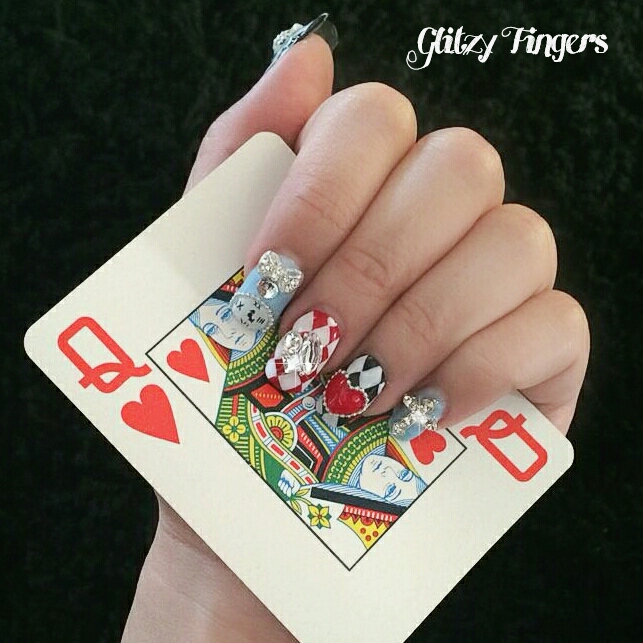 Poker Nails + Card Nails + Card Nail Designs + Cool Nail Designs + Pretty Nail Designs + Studded Nails + Checkered Nails+ Glittering Nails + Shiny Nails + Poker Card Nails + Hand Drawn + Hand Painted + Gel Nails + Nailoftheday + Cool Nails  + Gelish Designs + Nail Art