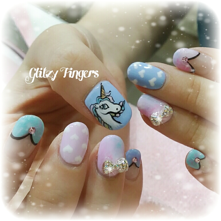 Pastel Nails + Pink Nails + Blue Nails + Unicorn Nail Designs + Unicorn Nail Art + Hand Drawn + Hand Painted + Studded Nails + Green Nails + Girly Nails + Pretty Nails + Cute Nails + Nail Parlour + Nice Nails + trendy Nails + Horse Nails + Cartoon Nails + Polkadot Nails + Nailoftheday + Nailstagram