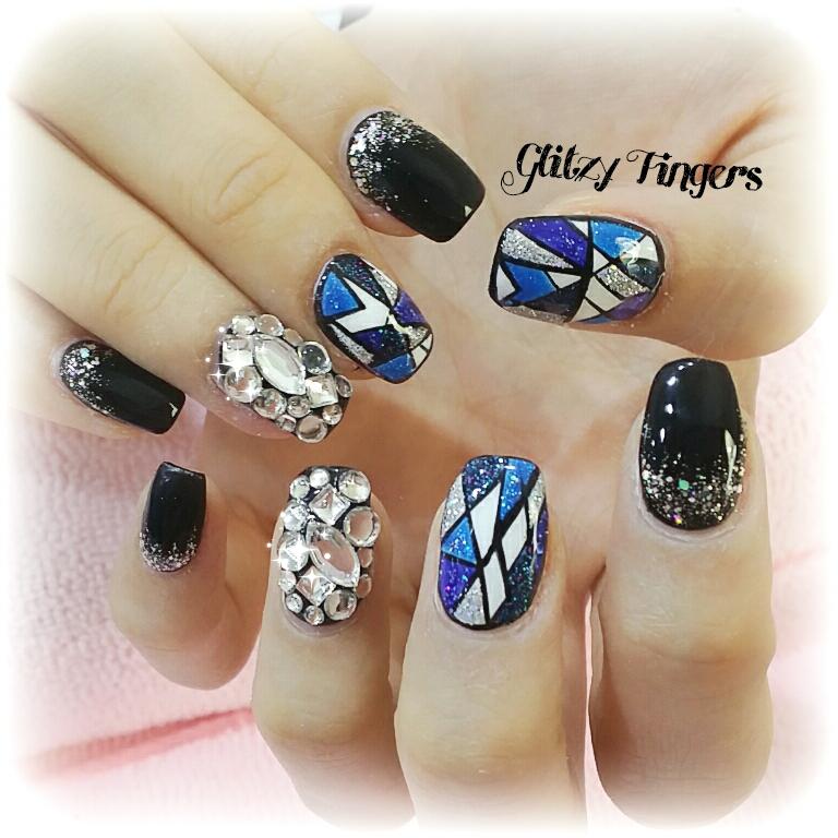 Stained Glass Nail Designs + Nail Designs + Stained Glass Nail Art + Shiny Nails + Black Nails + Mosaic Nails + Studded Nails + Sparkly Nails + Pretty Nails + Cool Nails + SgNails + Nailoftheday + Cute Nails  + trendy Nails + Nail Designs + Nail Art + HandDrawn + Hand Painted + Nailgasm