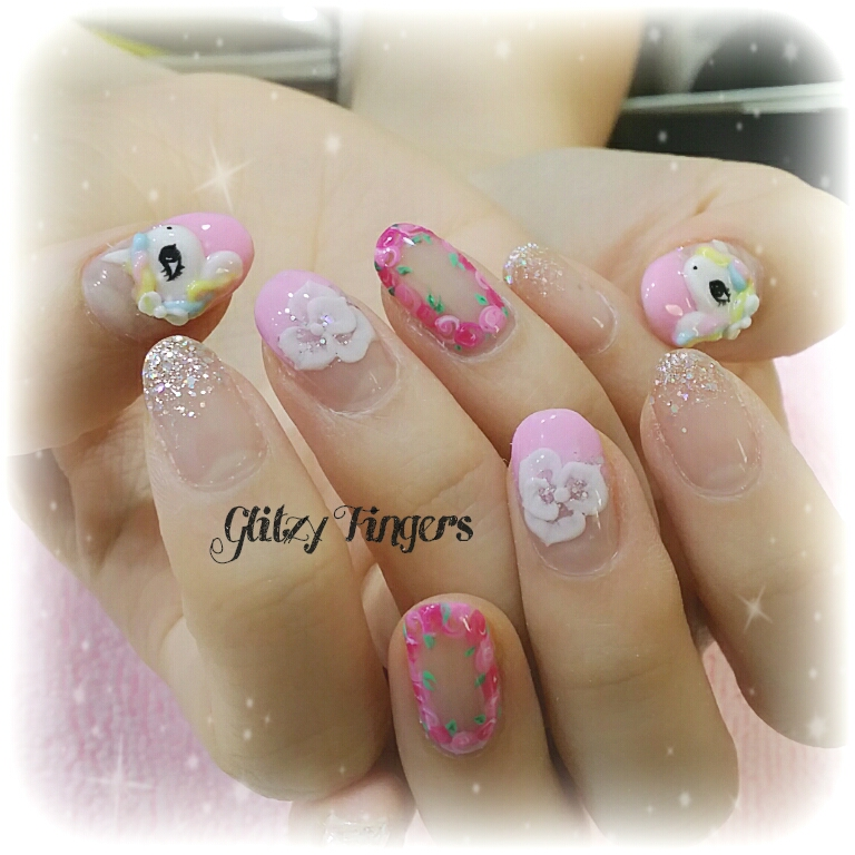 Gel Nails + Gel Art + Gel Design + Pink Nails + Pink Room Nails + Nail Design + Nailoftheday + Nailgasm + Nail SG + Gel Designs + My Little Pony Nail + Cute Nails + Floral Nails + Sparkly Nails + Manicure + GelMani + SGNails