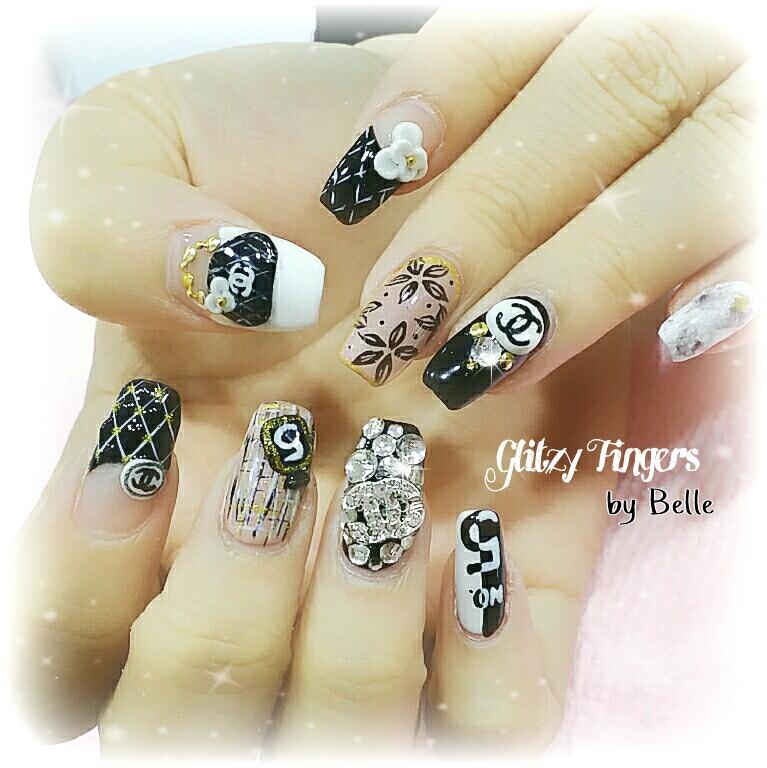 Gel Art + Gel Design + Nailgasm + Sgnails + Nailporn + Floral Nails + Gothic Nails + Nail of the day + Nail Design + Nail Art + Manicure + Chanel Inspired Nails + Chanel Nails + Pretty Nails + Pop out Nails + Pop out Art