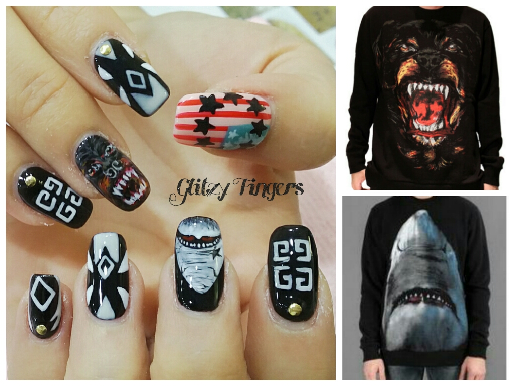 Givenchy Inspired Nails + NailGasm + Nail of the day + Gel Design + Gel Nails + Gel Art + Black Nails + Black and White Nails + Cool Nails + Nail Designs + SgNails + Glitzyfingers + Hand Drawn + Hand Painted Nails