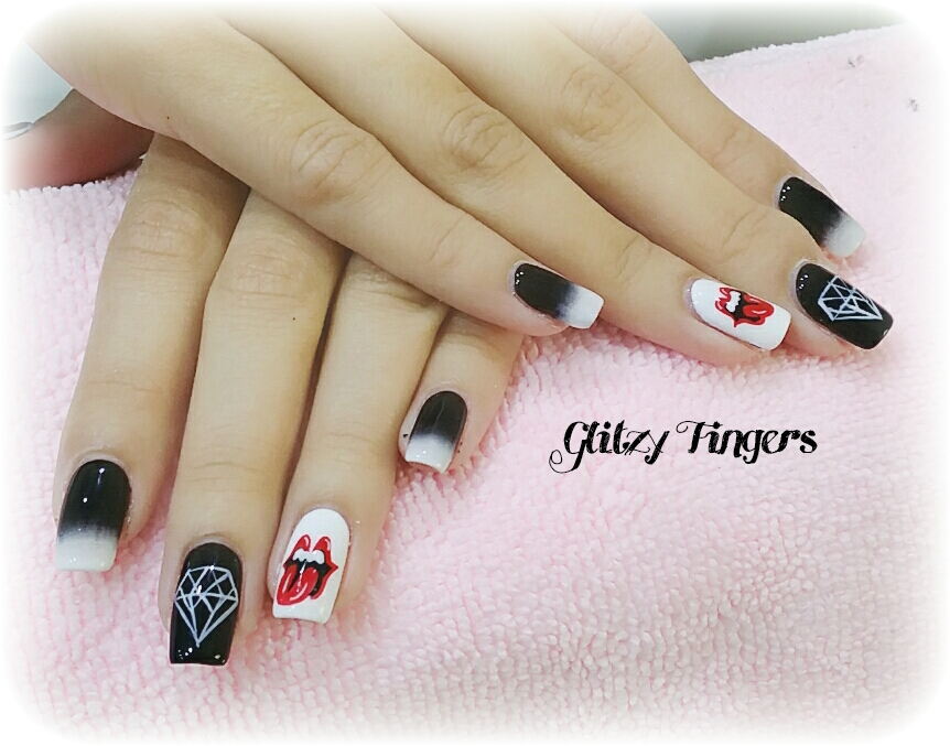 Nail Art + Nail Designs + Rolling Stone Nails + gel Art + Gelish Design + Gel Design + Pinkroom Nails + PartyNails + sgig + nailfashion + Nail trend + Nail of the day + Angelpronail + Pretty Nails + Black Nails + Black Nail Designs + Rolling Stone + Gelish Art + Nail Art  + Trendy Nails