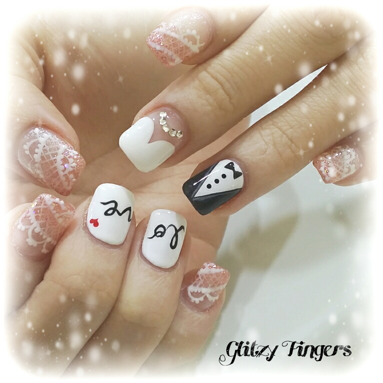 Gel nail art wedding