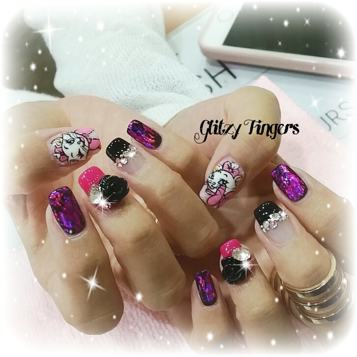 nails + Nail art + Nailstagram + nail designs + sgnails + pretty nails + gel nails + nail art of the day + gelish + gelish nails + nailgasm + sgignails + singapore nails + Manicure + Manicurist + pinkroom nails + angelpronail + cute nails + angelprogelly + sgig + nail fashion + nail artist + potd + disney nails + purple nails + purple foil nails + acrylic nails + nail trend + nail trend of the month + nailgasm + disney marie cat nails + studded nails + hand drawn + acrylic nails + sweet nails + pink theme nails + cute nails +