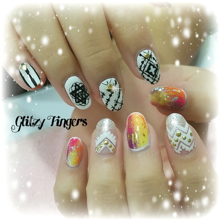 nails + nailart + nailstagram + naildesigns + sgnails + prettynails + gelnails + nailartoftheday + gelish + gelishnails + nailgasm + sgignails + singaporenails + pinkroomnails + angelpronail + cutenails + manicure + angelprogelly + sgig + nailfashion + nailartist + potd + gold foil nails + geometric nails + black and white nails  + hand drawn + hand painted nails + tribal nails + Studded nails + manicurist + nail inspiration + nailspiration + gradient nails + monochrome nails +